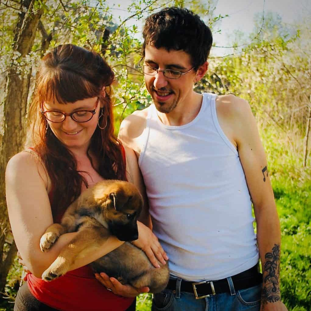 Family portrait while gathering wild plumbs.